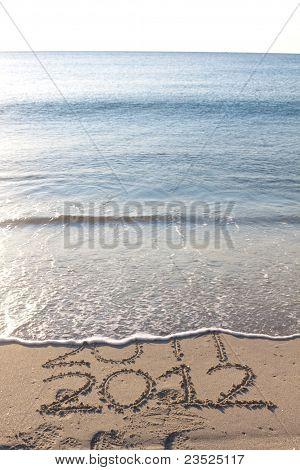 Neues Jahr 2012 am Strand