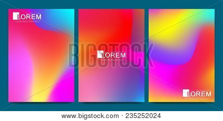Vector Design Template In Trendy Vibrant Gradient Colors With Abstract Fluid Shapes, Paint Splashes,