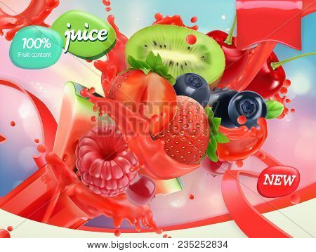 Mix Fruits And Berries. Splash Of Juice. Strawberry, Raspberry, Blueberry, Watermelon. 3d Realistic