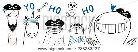 Hand Drawn Portrait Of A Cute Funny Pirate Animals In Tricorne Hats, With Eye Patches. Isolated Obje