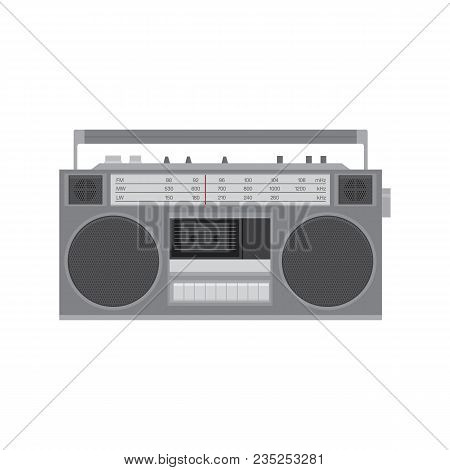 Retro Tape Player And Recorder. Vector Illustration Isolated On White