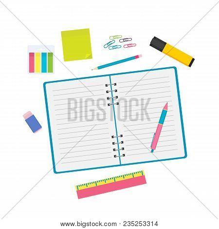 Stationary Objects Vector Illustration. Notebook, Pen, Pencil, Clips, Marker, Sticky Notes