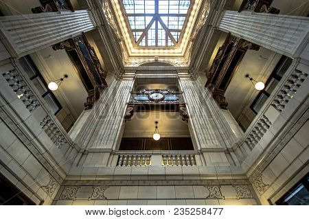 Detroit, Michigan, Usa - March 28, 2018: The Interior Of The David Whitney Building In Detroit. Comp