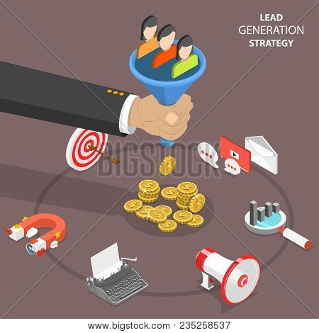 Lead Generation Strategy Flat Isometric Vector Concept. Marketing Process Of Conversion Rate Optimiz