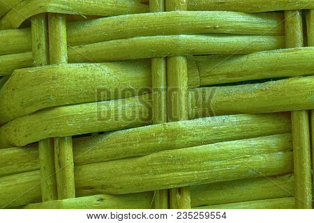 Golden Lime Painted Wooden Wicker Texture Of Basketwork For Background Use.