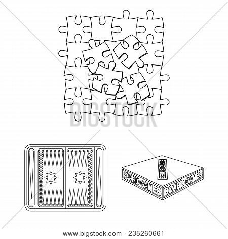 Board Game Outline Icons In Set Collection For Design. Game And Entertainment Vector Symbol Stock  I