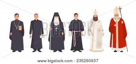 Collection Of Monks, Priests And Religious Leaders Of Catholic And Orthodox Christian Churches. Bund