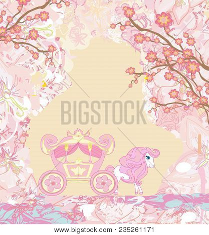 Carriage - Vintage Floral Abstract Card , Vector Illustration