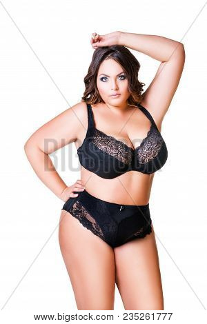 Plus Size Sexy Model In Black Underwear, Fat Woman Isolated On White Background, Overweight Female B
