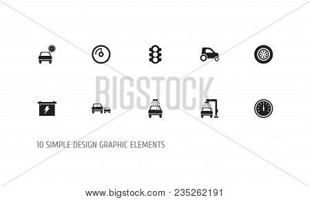 Set Of 10 Editable Car Icons. Includes Symbols Such As Odometer, Speed Display, Tire And More. Can B