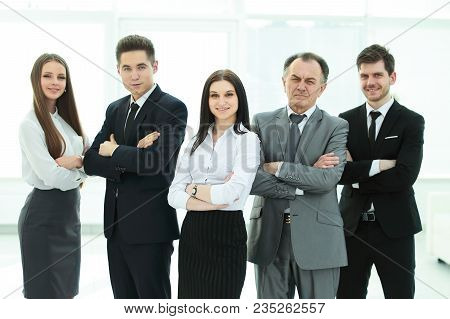 Group Of Business People On A Light Background .photo With Place For Text