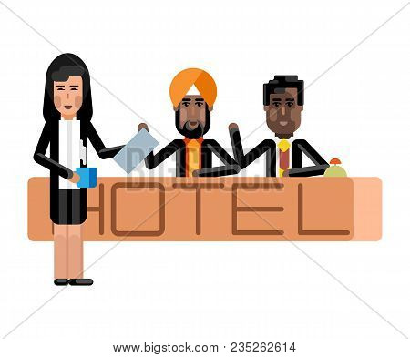 Indian And African Receptionists At Hotel Reception Desk, Asian Secretary With Coffee Cup. Corporate