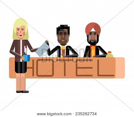 Indian And African Receptionists At Hotel Reception Desk And Blonde Secretary With Coffee Cup. Corpo