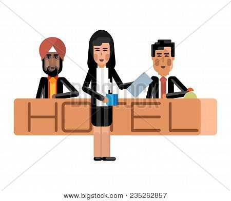 Indian And Asian Receptionists At Hotel Reception Desk And Secretary With Coffee Cup. Corporate Mult