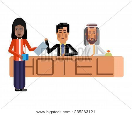 Arabic And Asian Receptionists At Hotel Reception Desk, Indian Secretary With Document And Coffee Cu