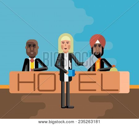 Indian And African Receptionists At Hotel Reception Desk And Blonde Woman With Coffee Cup And Docume
