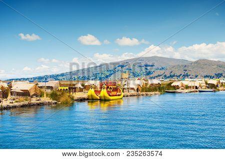 Titicaca Lake, Puno, Peru - March, 20, 2017. Uros Floating Islands On Titicaca Lake In Puno, Peru, S