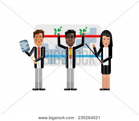Multiethnic Business Team Doing Presentation Near Whiteboard With Financial Diagram. Corporate Multi
