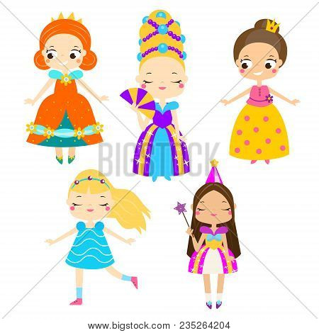Cute Princess Set. Girls In Queen Dresses. Vector Collection Of Cartoon Fairy Tales Characters For K