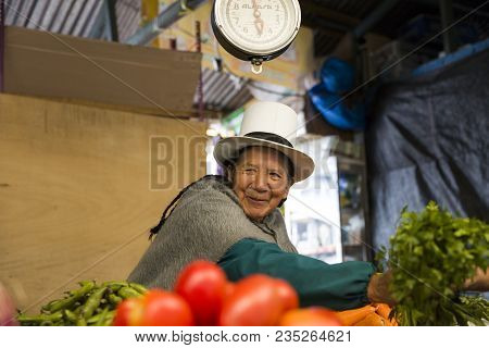 Cusco, Peru - January 2, 2018: Unidentified Woman On The San Pedro Market In Cusco, Peru. Markets Pl