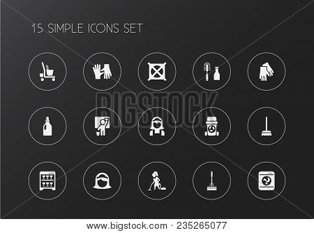 Set Of 15 Editable Cleaning Icons. Includes Symbols Such As Housewife, Vacuuming Woman, Swob And Mor