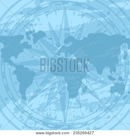 Grunge Background With Compass Rose And World Map. Geography Research, Worldwide Traveling And Natur