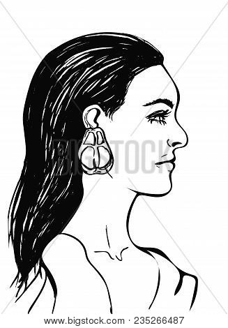 Beautiful Woman With Long Black Hair. Female Face In Profile. Fashion Icon For Beauty Salon. Profile