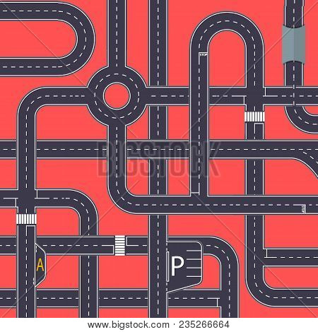 City Traffic Background With Crossing Highways. Urban Transportation Infrastructure Concepts. Roads