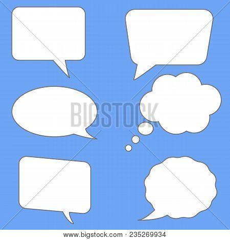 White Speech Bubbles On Blue Background. Flst Style. Blank Empty Speech Bubbles For Your Text. Set P