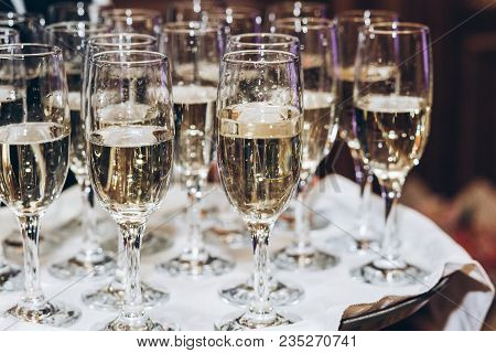 Stylish Golden Champagne In Glasses. Elegant Glasses Of Alcohol Drink On Tray Serving  At Luxury Wed