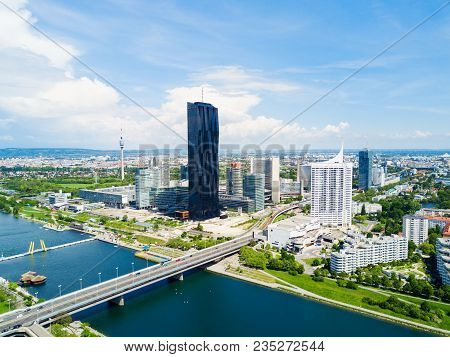 Danube City Aerial Panoramic View. Donaustadt Is The District Of Vienna, Austria. Danube City Is A M