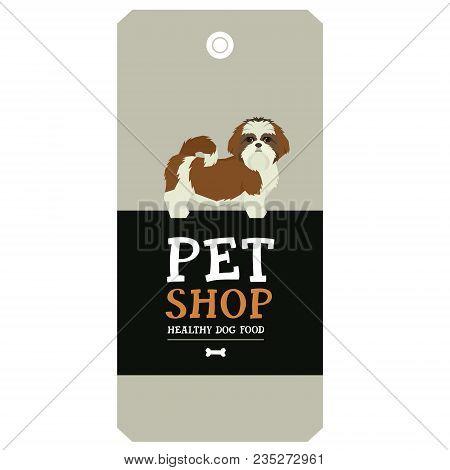 Poster Pet Shop Design Label Shih Tzu Geometric Style Set