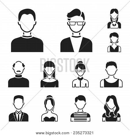 Avatar And Face Black Icons In Set Collection For Design. A Person Appearance Vector Symbol Stock Il