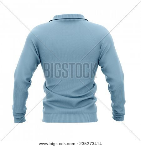 Men's zip neck pullover with raglan sleeves, rubber cuffs and collar. 3d rendering. Clipping paths included: whole object, collar, sleeve. Back view. poster