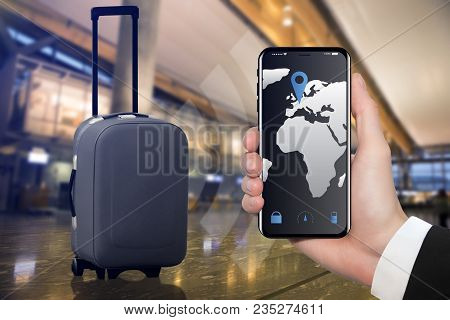 Smart Baggage With Built-in Gps Tracking In Airport Terminal