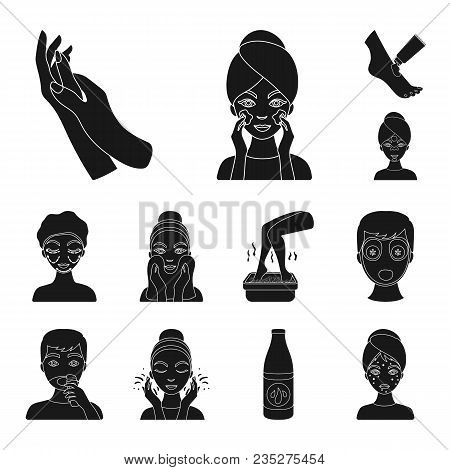 Skin Care Black Icons In Set Collection For Design. Face And Body Vector Symbol Stock  Illustration.