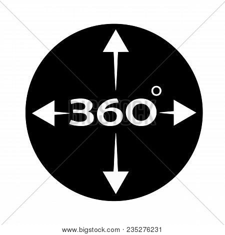 Angle 360 Degree Icon On White Background. 360 Degree View Sign. Flat Style. Rrotation Of 360 Gradus