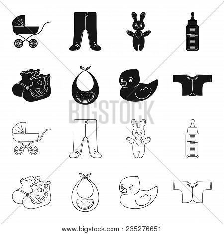Socks, Bib, Toy Duck, Raspashonka.baby Born Set Collection Icons In Black, Outline Style Vector Symb