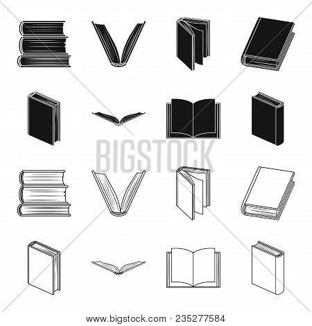 Various Kinds Of Books. Books Set Collection Icons In Black, Outline Style Vector Symbol Stock Illus
