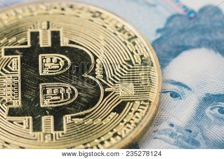 Scratch Bear Market Bitcoin Cryptocurrency, Digital Money In Japan Concept, Closed Up Shot Of Physic