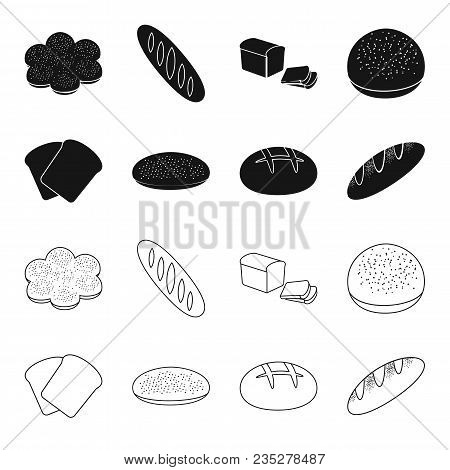 Toast, Pizza Stock, Ruffed Loaf, Round Rye.bread Set Collection Icons In Black, Outline Style Vector