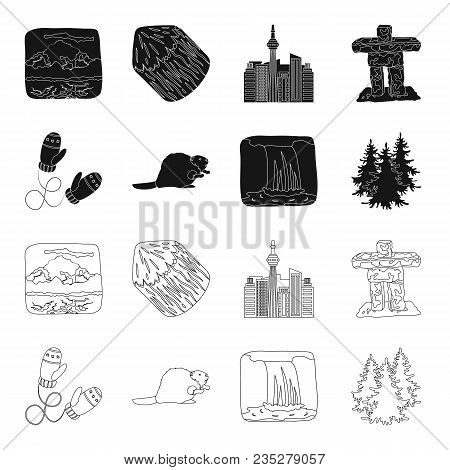 Canadian Fir, Beaver And Other Symbols Of Canada.canada Set Collection Icons In Black, Outline Style