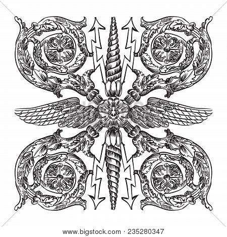 Ancient Carving Street  Lattice Vector Hand Drawing Illustration In Black Color Isolated On White Ba