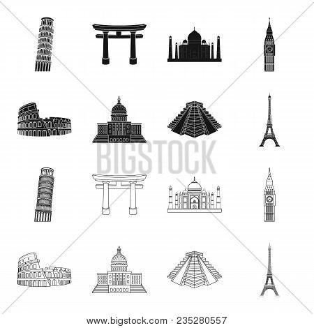 Sights Of Different Countries Black, Outline Icons In Set Collection For Design. Famous Building Vec