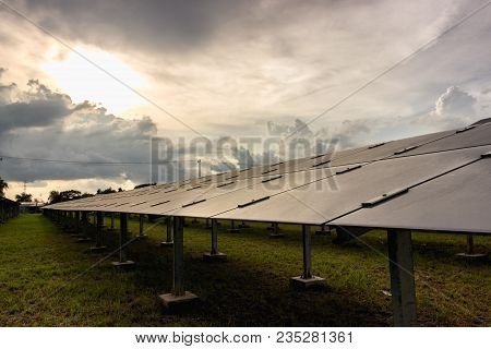 Hdr Lanscape, Solar Farm Produces Electricity From Solar Energy, Clean Energy To Replace Global Warm