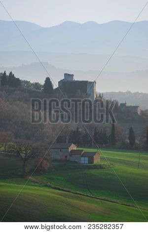 Italian Countryside Landscape With Old Farmland Architecture