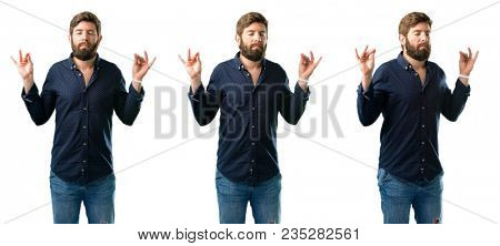 Young man with beard doing ok sign gesture with both hands expressing meditation and relaxation isolated over white background