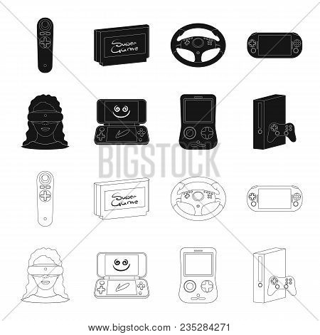 Game Console And Virtual Reality Black, Outline Icons In Set Collection For Design.game Gadgets Vect