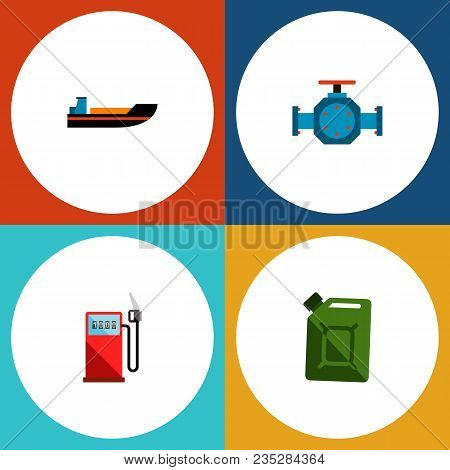 Icon Flat Fuel Set Of Gas Station, Jerrycan, Pipe Pump Valve And Other  Objects. Also Includes Trans