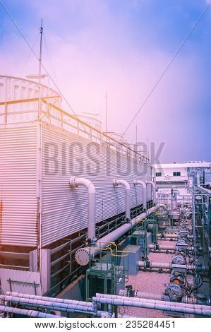 Cooling Tower System In Factory, Part Of Cooling Tower In Petrochemical Plant